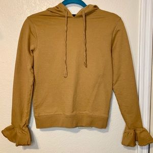 J. Crew Melted Caramel Cozy Flare-Cuff Hoodie XS